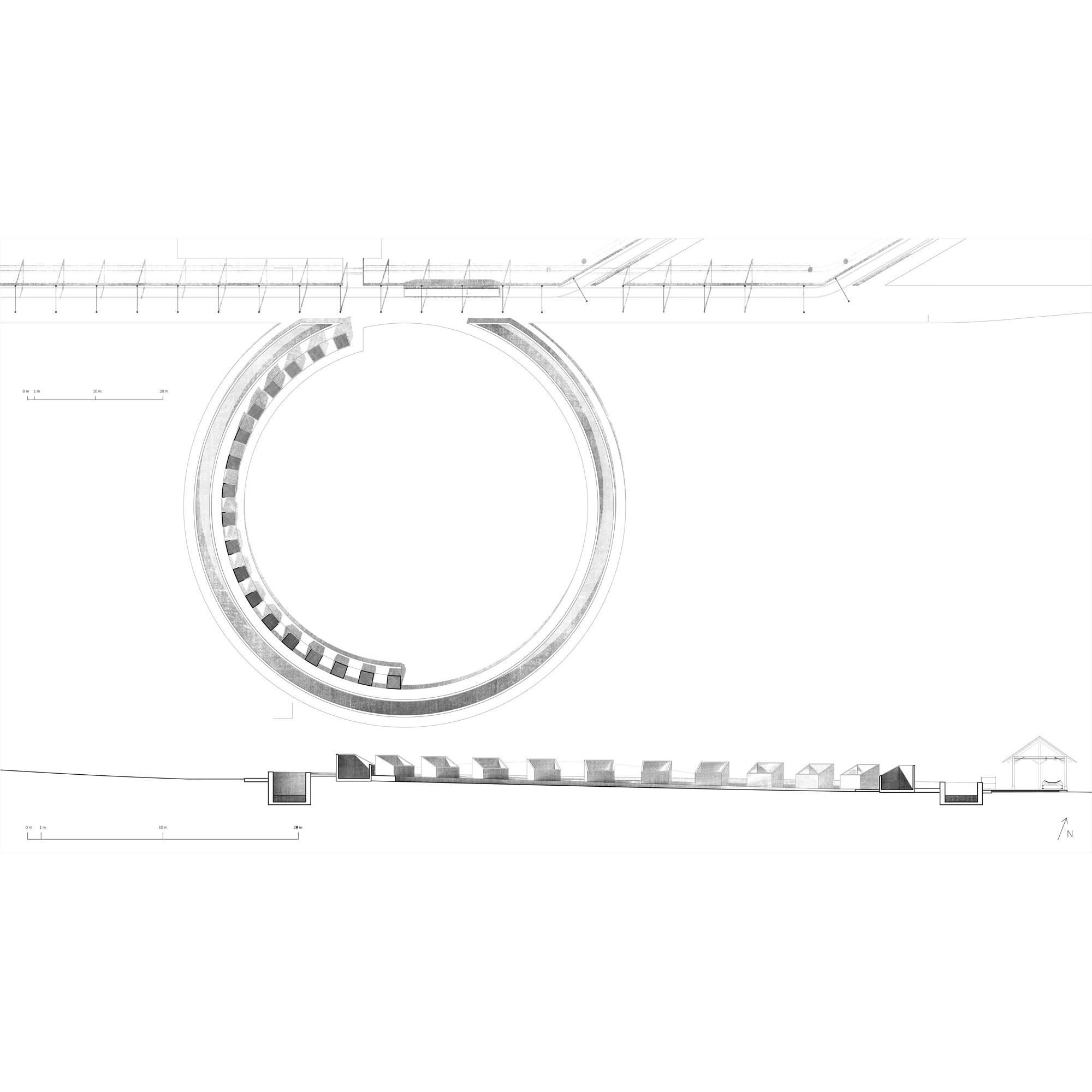 Plan / Section of growing circle